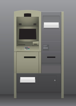 Automatic teller machine inside grey interior Vector