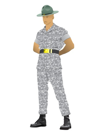 Military drill instructor standing in parade rest position, illustration isolated on white. Vectores