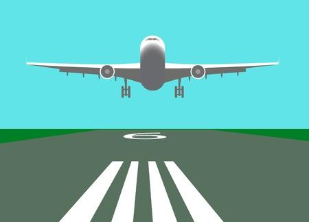mid air: Aterrizaje ilustraci�n de avi�n.