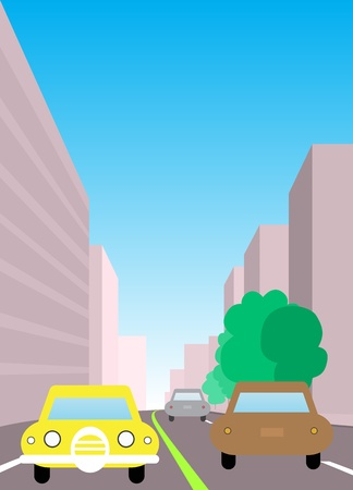 two way traffic: City traffic illustration. Two way road with cars surrounded by city buildings, sidewalk and trees.