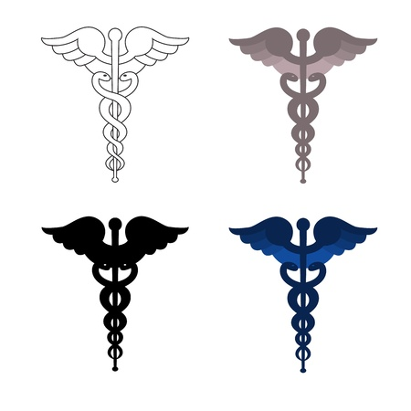 Four versions of caduceus, an outline, black, gray and blue. Vectores