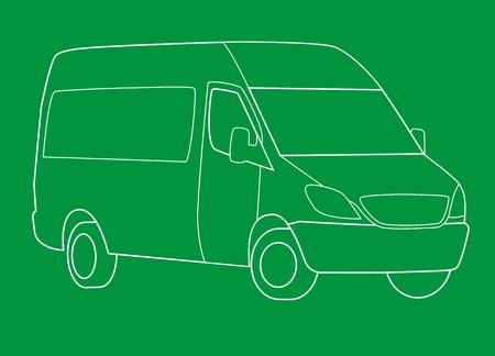 outline drawing: Schema di disegno di consegna van
