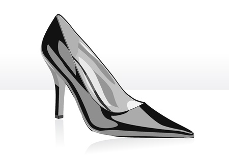 High heel black woman shoe with shade and light background Vector