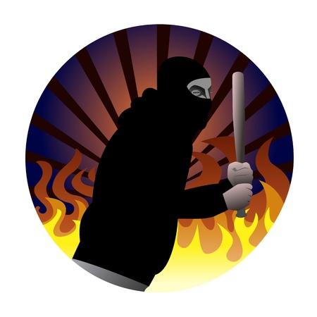judgement day: Illustration of a riot participant with baseball bat in black hood wearing mask. Fire flames and rays of light in the background.