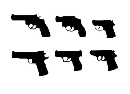 six gun: Six hand gun silhouettes Illustration