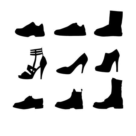 back lit: Nueve siluetas zapatos Vectores