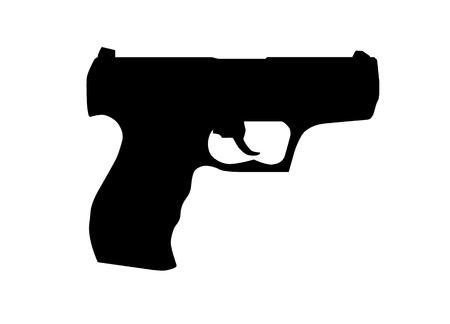 Hand gun silhouette Ilustração