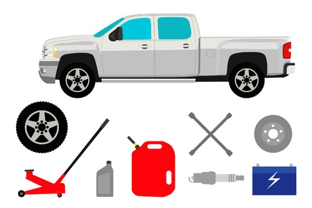 pneumatic: Pick-up truck with group of repair shop elements Illustration
