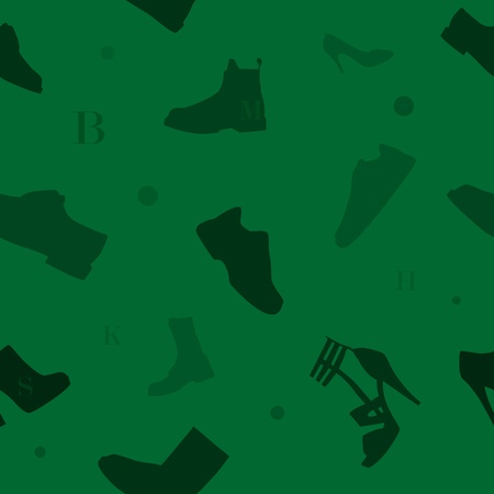 pump shoe: Seamless pattern with variety of shoes and some circles and alphabet letters  Illustration