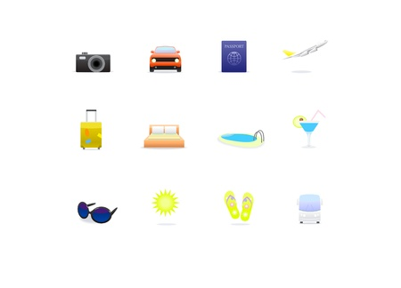 Travel color icons isolated on white Vector