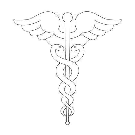 Caduceus symbol line illustration