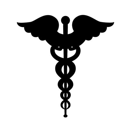 Caduceus symbol silhouette Stock Illustratie