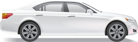 car side view: Photorealistic business class sedan illustration isolated on white Illustration