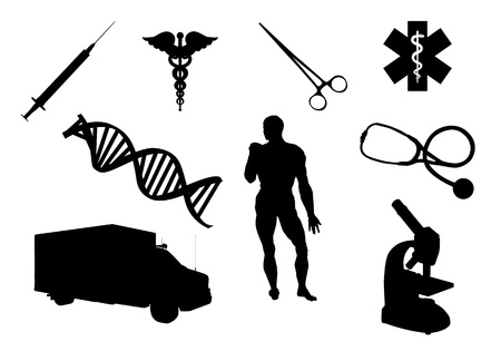 Silhouettes of objects related to health and medicine Vector