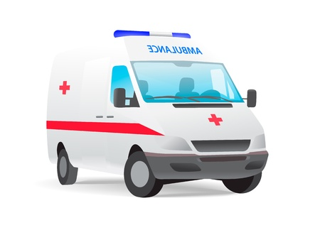 Ambulance van with red cross