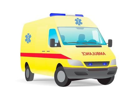 Yellow ambulance van with caduceus sign Vectores
