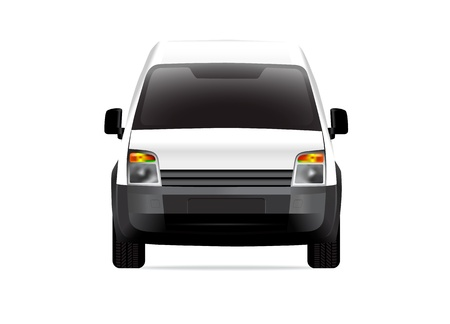 White delivery compact van front view Vector