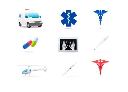 Colorful medical icons isolated on white background Illustration