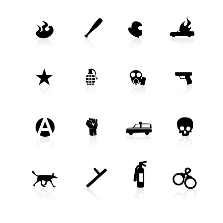 Black riot icons on white background with reflections Vector