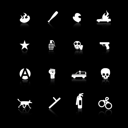 White riot icons on black background with reflections Vector