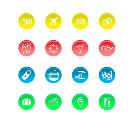 Circular travel icons in 4 colors. Separate layers for different colors. Stock Vector - 12363204