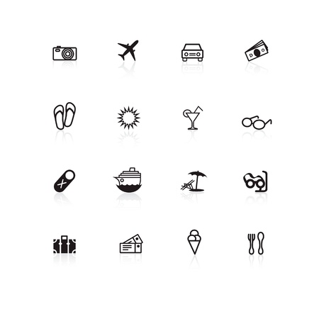 Black travel icons on white background with reflections Stock Vector - 12363202