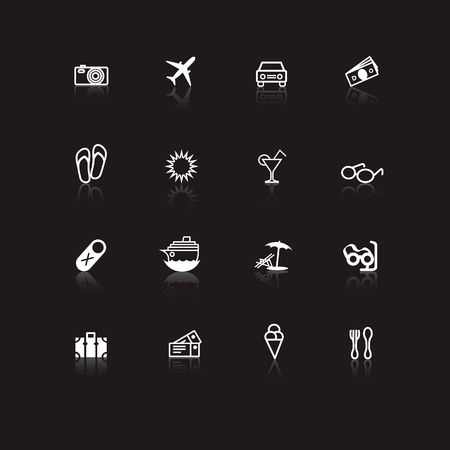 White travel icons on black background with reflections Illustration