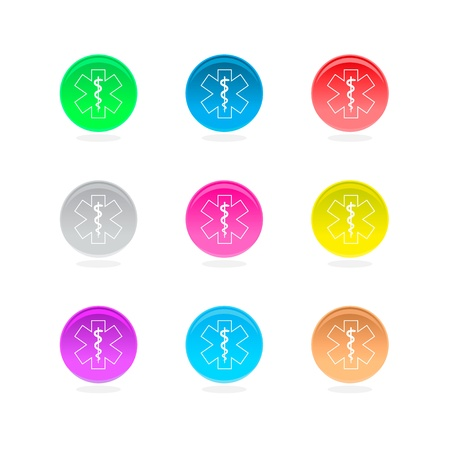 Medical symbol color icons  Asclepius inside color circles isolated on white background Stock Vector - 14613065
