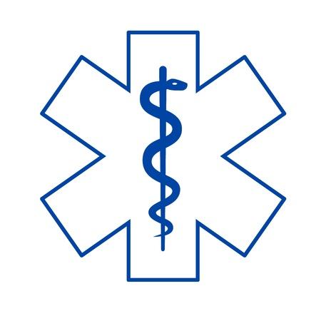 estrella de la vida: Asclepio médicos símbolo aisladas sobre fondo blanco. Vectores