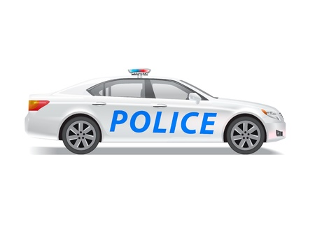 patrol: Photo realistic police patrol car isolated on white. Contains transparencies, eps 10 file. Illustration