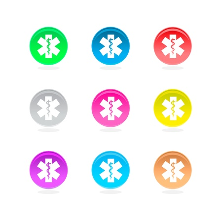 Medical symbol color icons. Asclepius inside color circles isolated on white background.