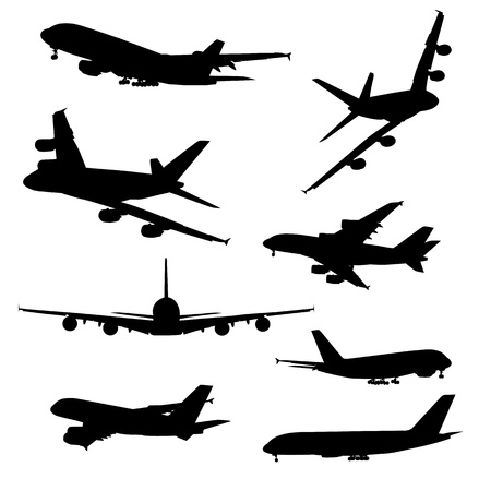 Airplane silhouettes, black isolated on white background Vectores