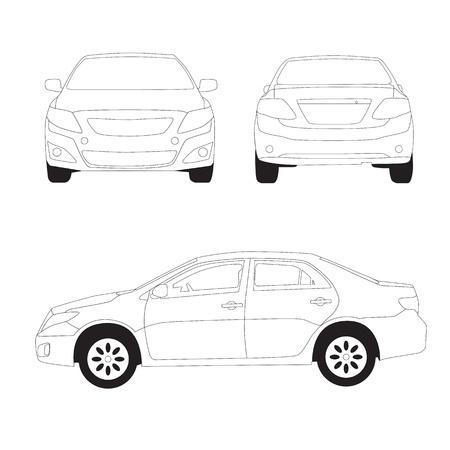 City car line illustration on white background