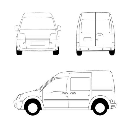 motor de carro: Furgón ilustración línea Vectores
