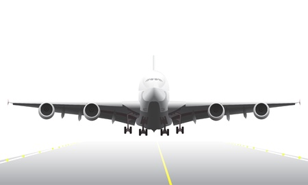 Landing aircraft illustration