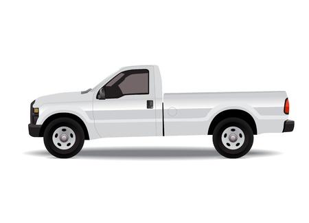 白い背景で隔離の白いピックアップ トラック