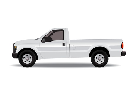 White pick-up truck isolated on white background Stock Illustratie