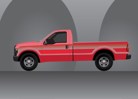 transference: Pick-up truck red on grey background interior