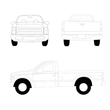 Pick-up truck line illustration front side and rear view Vectores