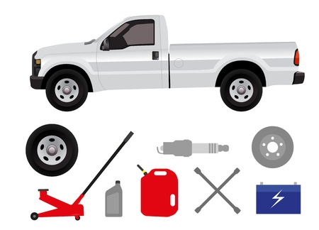 repair shop: Pick-up con un grupo de elementos de taller de reparaci�n Vectores