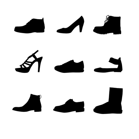 Black shoes silhouettes on white background