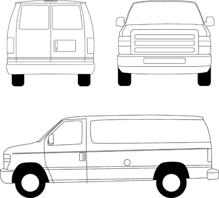 Delivery van line illustration Illustration