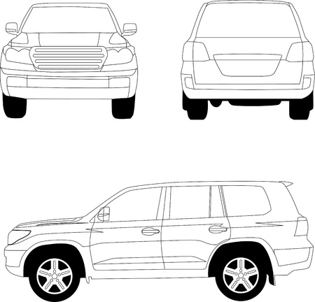 jeep: Sport utility vehicle car vector line illustration on white