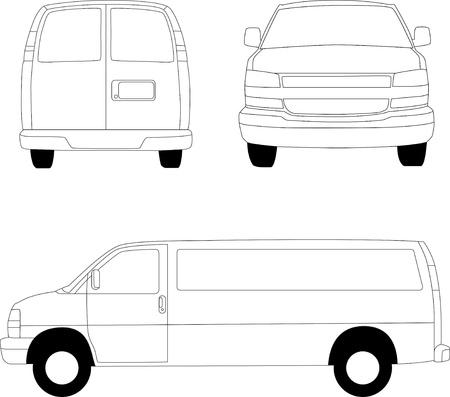 Delivery van line illustration Illustration