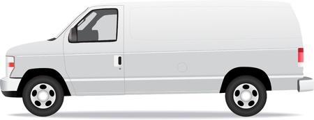 配信バン側面図である白で隔離されます。  イラスト・ベクター素材