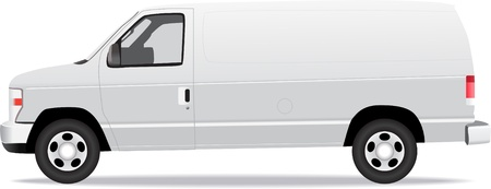 transit: Delivery van side view illustration isolated on white