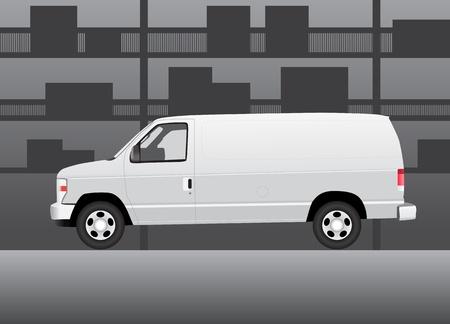 storehouse: Blanco furgoneta de reparto en el interior de la bodega