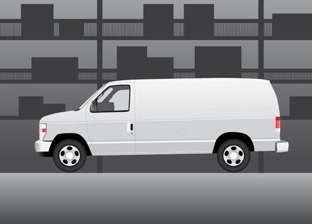 White delivery van inside of storehouse  Vector