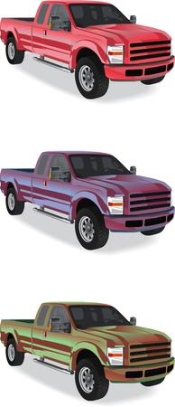 Pick-up Trucks auf weißem Hintergrund Vektorgrafik