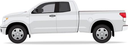 白い背景で隔離のピックアップ トラック